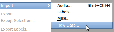 Audacity: import raw data