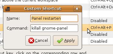 Ein Tastenkürzel für killall gnome-panel ist erstellt