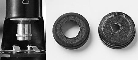 Mikroskop-Objektiv und angebohrte M42-Objektivrückdeckel